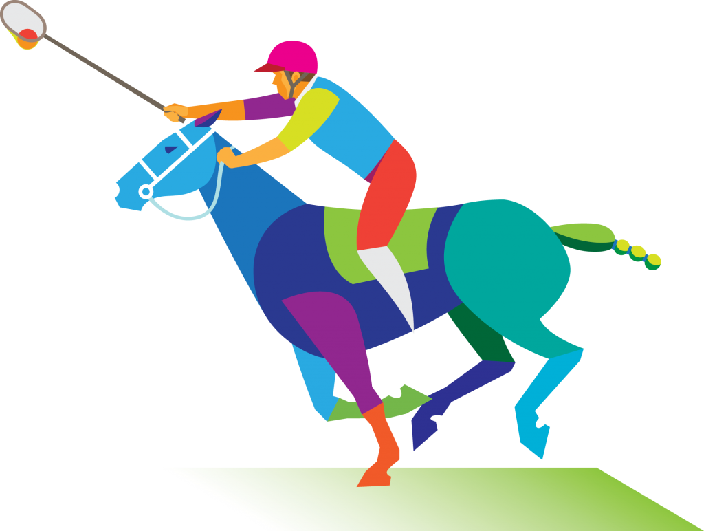 Multi coloured image of a man riding a horse playing polocrosse